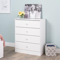 Astrid 4-Drawer Dresser, Crystal White