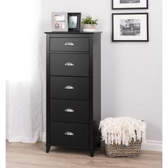 Yaletown 5-Drawer Tall Chest, Black