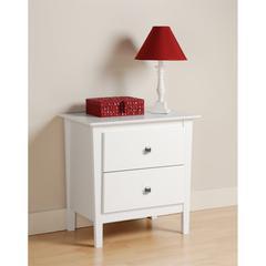 Prepac White Berkshire 2 Drawer Nightstand