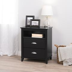 Yaletown 2-Drawer Tall Nightstand, Black