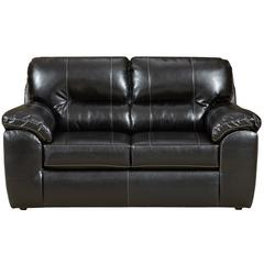 Exceptional Designs by Flash Taos Black Leather Loveseat