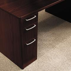 HON Attune Double Pedestal Desk, Frosted Mod Panel, 72w x 36d x 29-1/2h, Mahogany