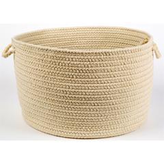 """Rhody Rug Solid Sand Wool 18"""" x 12"""" Basket"""