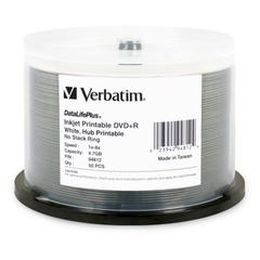 Verbatim DatalifePlus 94812 DVD Recordable Media - DVD+R - 8x - 4.70 GB - 50 Pack Spindle - Inkjet Printable