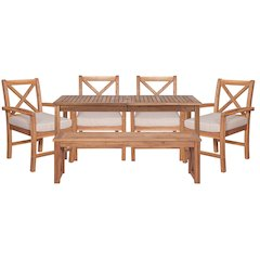 Acacia Wood X-Back Classic Patio 6-Piece Dining Set