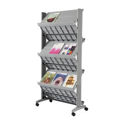 """PAPERFLOW Double sided """"XL"""" literature display. Silver"""