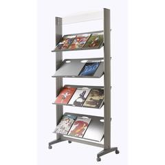 "PAPERFLOW Single sided ""XL"" literature display. Metal shelves"