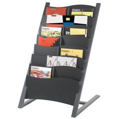 PAPERFLOW 7 compartment multi-sizes floor literature display. Charc.