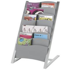 PAPERFLOW 7 compartment multi-sizes floor literature display. Silver