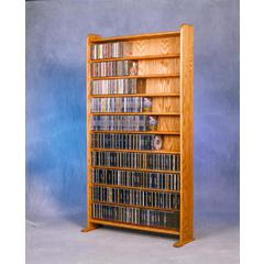 Solid Oak 10 Shelf CD Cabinet
