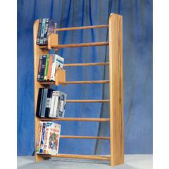 Solid Oak 4 Row Dowel DVD/VHS Rack