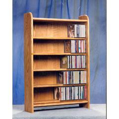 Solid Oak 5 Shelf CD Cabinet