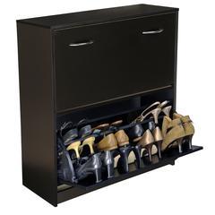 Double Shoe Chest, 30 x 11-1/2 x 34, Black