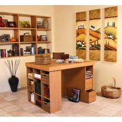 Project Center With 1 Bookcase & 3 Bin Cabinet, 55 x 41 x 38-1/2, Oak