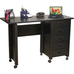 Venture Horizon Folding Mobile Desk, 45 x 18 x 29, Black