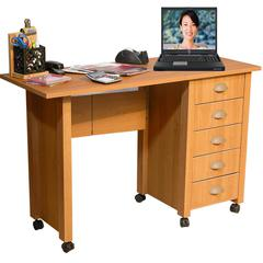 Folding Mobile Desk, 45 x 18 x 29, Oak
