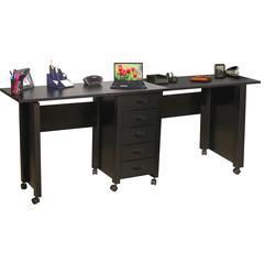 Venture Horizon Double Folding Mobile Desk, 71 x 18 x 29, Black