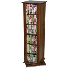 "Revolving Media Tower-2 Sided, 15"" x 14-1/2 x 50-3/4, Walnut"