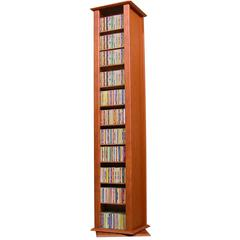 Revolving Media Tower-2 Sided, 15 x 14½ x 77, Cherry