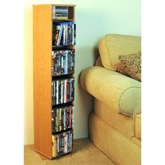 Revolving Media Library, 10 x 10 x 48, Oak