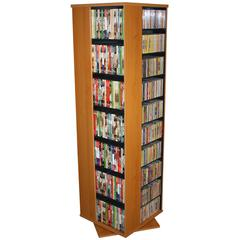 Revolving Media Tower 1000, 19-1/4 x 19-1/4 x 63, Oak