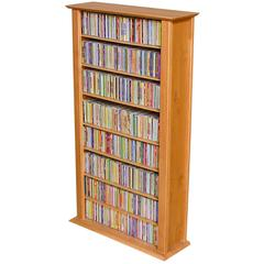 Media Storage Tower-Regular Single, 28 x 9-1/2 x 50, Oak