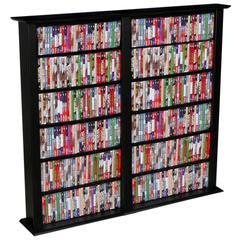 Media Storage Tower-Regular Double, 52 x 9-1/2 x 50, Black