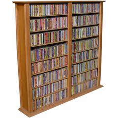 Media Storage Tower-Regular Double, 52 x 9-1/2 x 50, Oak