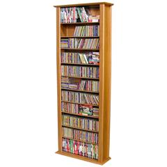 Media Storage Tower-Tall Single, 28 x 9-1/2 x 76, Oak
