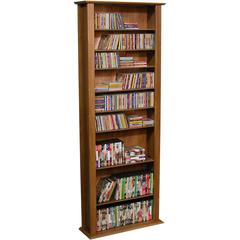 Media Storage Tower-Tall Single, 28 x 9-1/2 x 76, Walnut