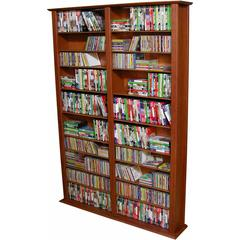 Venture Horizon Media Storage Tower-Tall Double, 52 x 9-1/2 x 76, Cherry