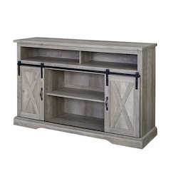 "52"" Modern Farmhouse High Boy Wood TV Stand with Sliding Barn Doors - Grey Wash"