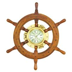 Benzara Wood Shipswheel Clock Unique Country Home Decor