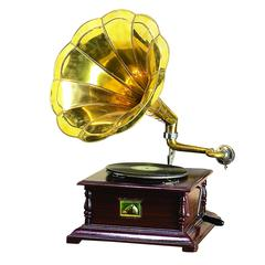 Benzara Wood Metal Gramophone Decor With Musical Blend