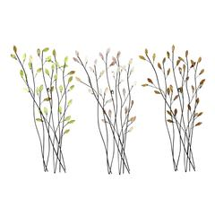 Metal Wall Decor Set Of 3 Assorted Casted In Twig Shape