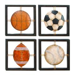 Metal Wall Plaque Set Of 4 Assorted Specially Made For Ball Lovers
