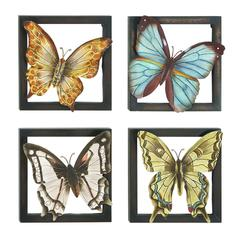 Metal Wall Decor 4/Asst With Butterflies Theme