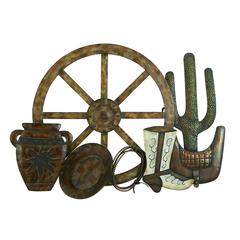 Benzara Metal Western Wall Decor Country Western Metal Wall Art