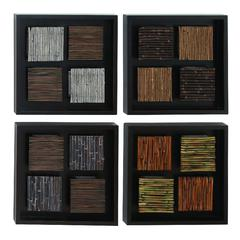 Wood Wall Decor Set Of 4 Assorted With Multicolor Rectangular Frames