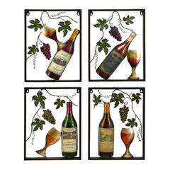Metal Wine Decor Set Of 4 Assorted A Nice Living Style Statement