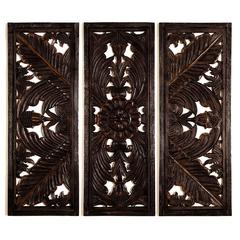 Benzara Wood Wall Plaque S/3 Varnished To Make It Long Lasting
