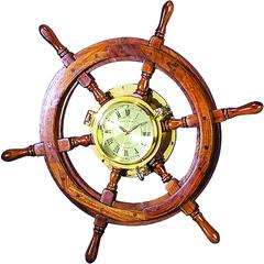 Benzara Wood Brass Shipolystonewheel Clock A Perfect Nautical Wall Decor