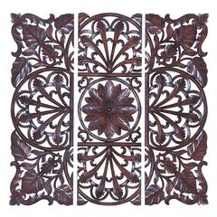 Benzara Brown Wooden Wall Plaque - Set Of 3