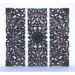 "36""H Modern Wood Wall Panel With Dark Finish (Set Of 3)"