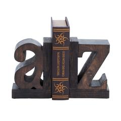 Benzara Set Of 2 Sturdy Wood Book End With Robust Design
