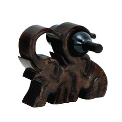 Benzara Wood Wine Holder In Rich Brown Finish