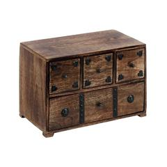 Benzara Wood Chest Box Decorated With Metal Stripes