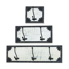 Benzara Attractive Black And White Wood Metal Wall Hook Set Of Three Plagues