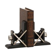 Benzara Creative Styled Wood Metal Bookend Pair