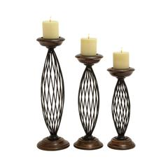 Traditional Metal Wood Candle Holder Set Of 3